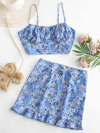 ZAFUL Tiny Floral Ruffles Cami Two Piece Suit - Powder Blue S