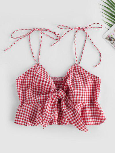 ZAFUL Gingham Smocked Tied Peplum Camisole - Red S