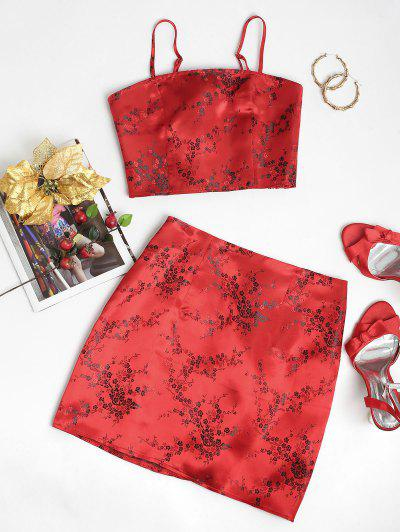 ZAFUL Floral Smocked Jacquard Two Piece Suit - Ruby Red Xl