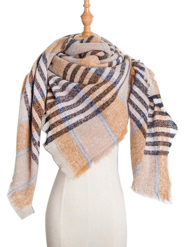 Square Plaid Fringed Wrap Scarf фото