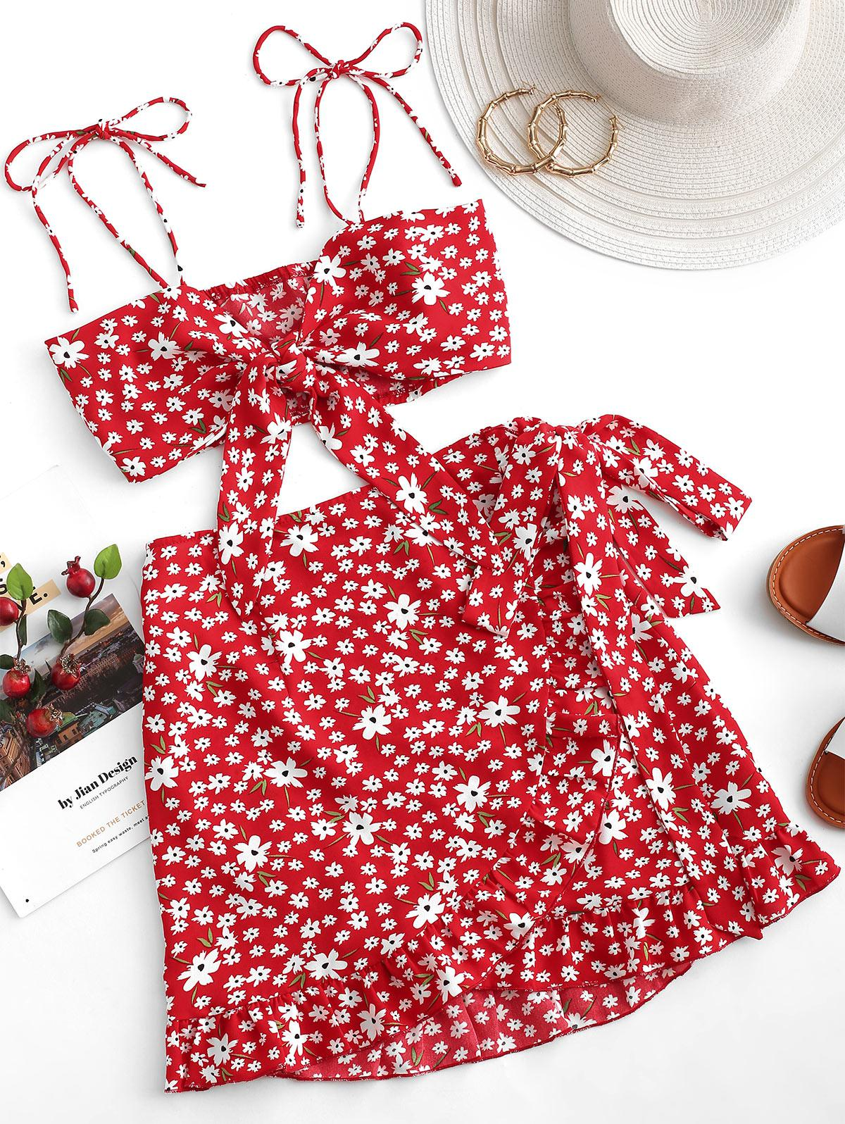 ZAFUL Two Piece Ditsy Floral Tie Front Wrap Skirt Set