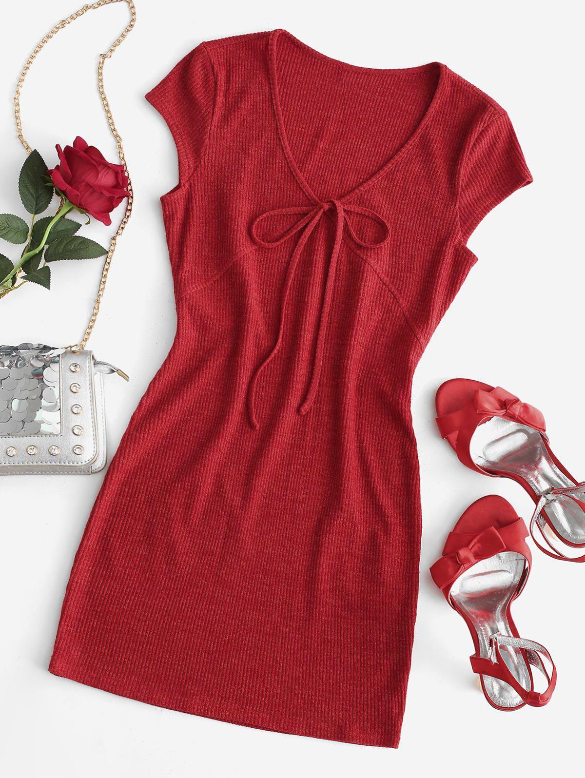 ZAFUL Tie Collar Cap Sleeve Ribbed Bodycon Dress