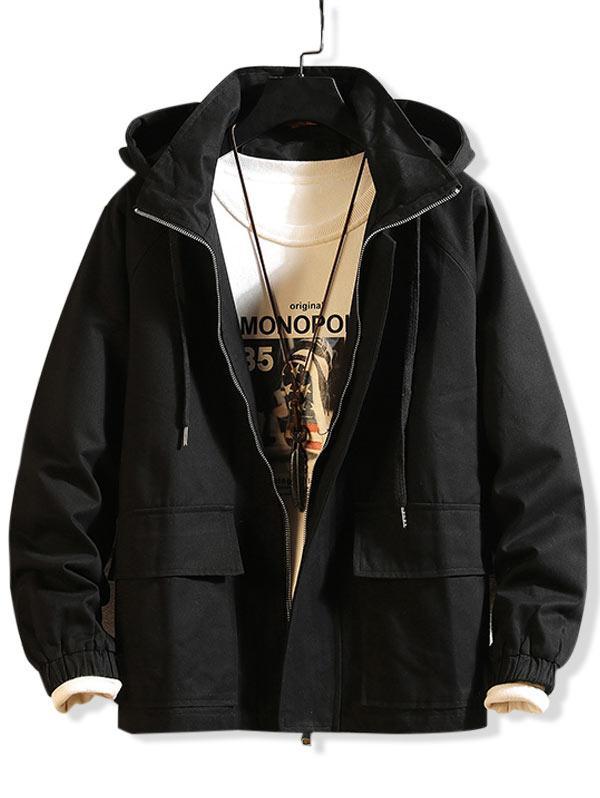 Solid Color Pocket Design Hooded Jacket фото