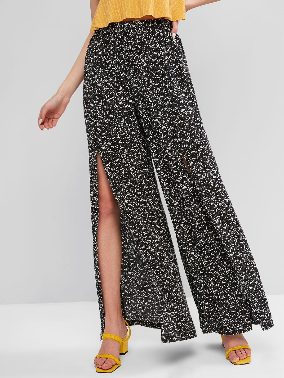 ZAFUL Ditsy Print Slit Wide Leg Pants
