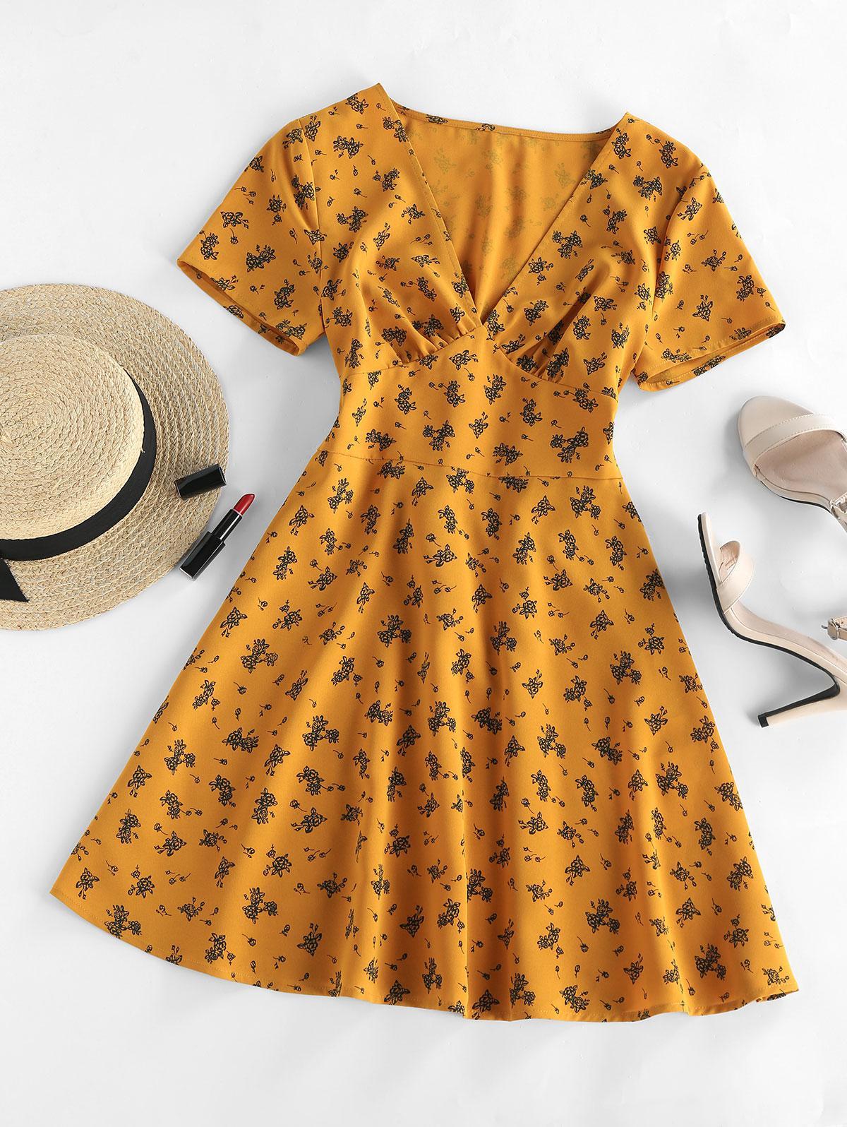 ZAFUL Floral V Neck A Line Mini Dress