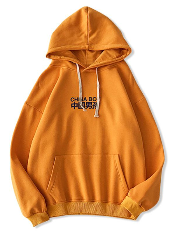 Letter Cartoon Pattern Casual Hoodie thumbnail