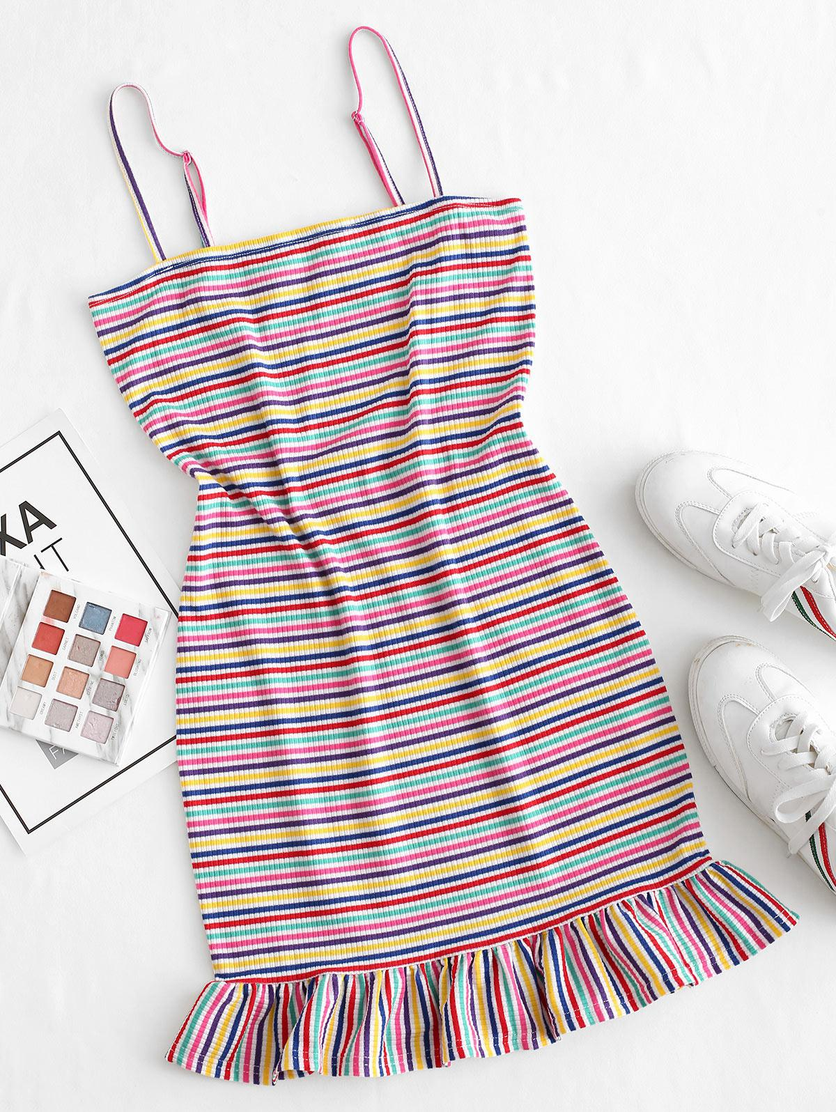ZAFUL Ribbed Colorful Stripes Ruffled Hem Cami Dress