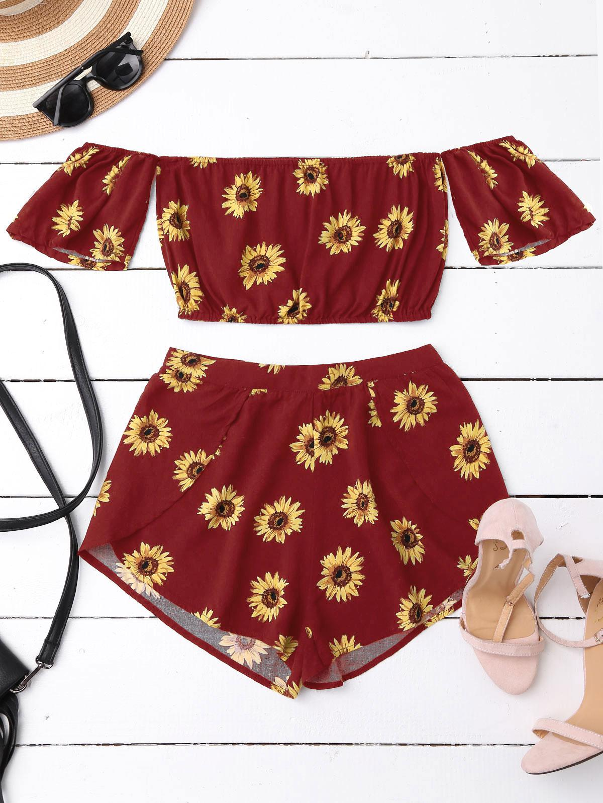 Off Shoulder Crop Top and Sunflower Shorts фото