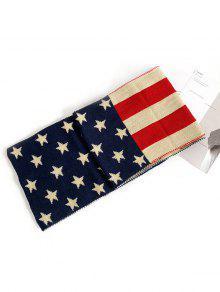 العلم الأميركي محبوك وشاح طويل - داكن سليت أزرق