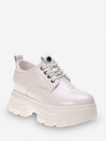 سوبر منصة عالية الرباط حتى أحذية جلدية - اللون البيج الاتحاد الأوروبي 35