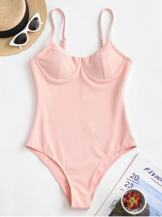 buy ZAFUL Ribbed Underwire High Rise One-piece Swimsuit - PINK XL