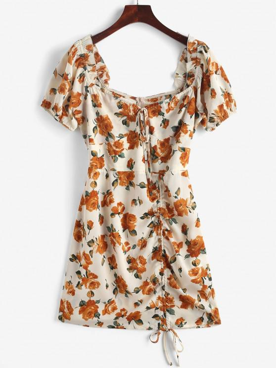 ZAFUL Robe de Laitière Fleurie à Volants à Lacets - Blanc Antique M