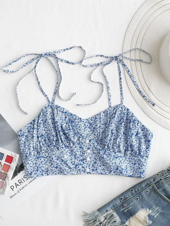 new ZAFUL Ditsy Print Mock Button Smocked Crop Camisole - SKY BLUE XL