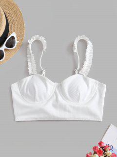 ZAFUL Haut De Bikini Côtelé à Lacets à Volants à Armature - Blanc S