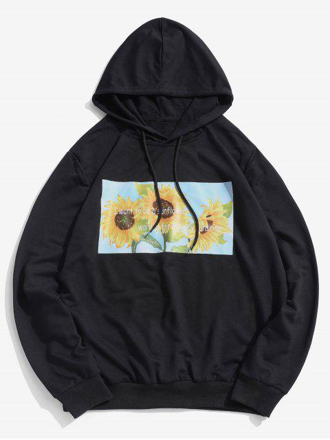 hot ZAFUL Sunflower Printed Pullover Hoodie - BLACK L Mobile
