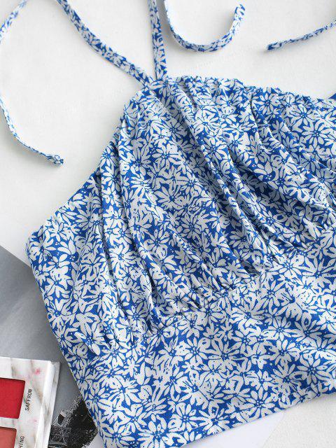 ZAFUL Camisole Courte Fleurie Imprimée Plissée avec Bouton - Bleu Ciel XL Mobile