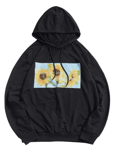 ZAFUL Sunflower Printed Pullover Hoodie
