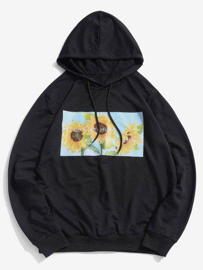 ZAFUL Sunflower Printed Pullover Hoodie - Black L