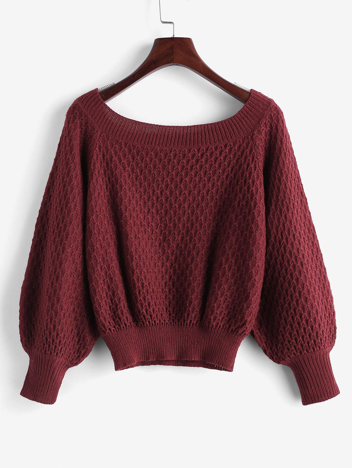 ZAFUL Boat Neck Raglan Sleeve Jumper Sweater