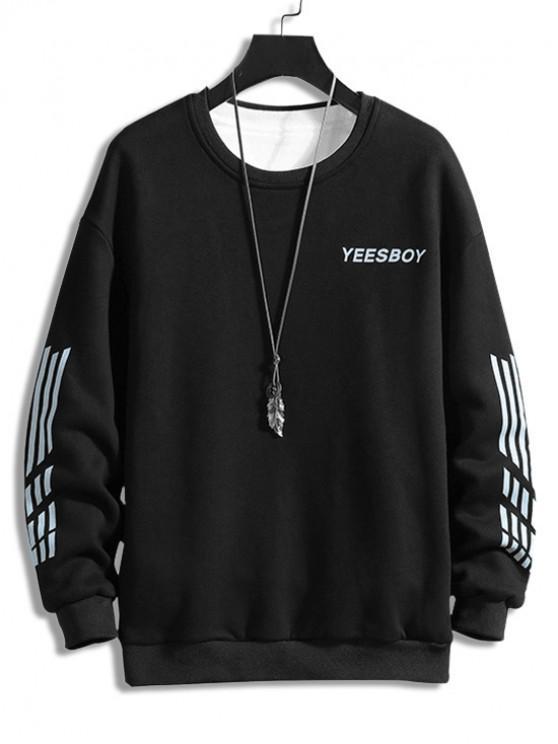 sale Letter Striped Print Fleece Sweatshirt - BLACK XS