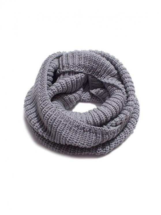 lady Solid Winter Knitted Neck Scarf - BATTLESHIP GRAY