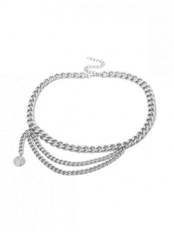 affordable Portrait Pendant Layered Waist Chain - SILVER