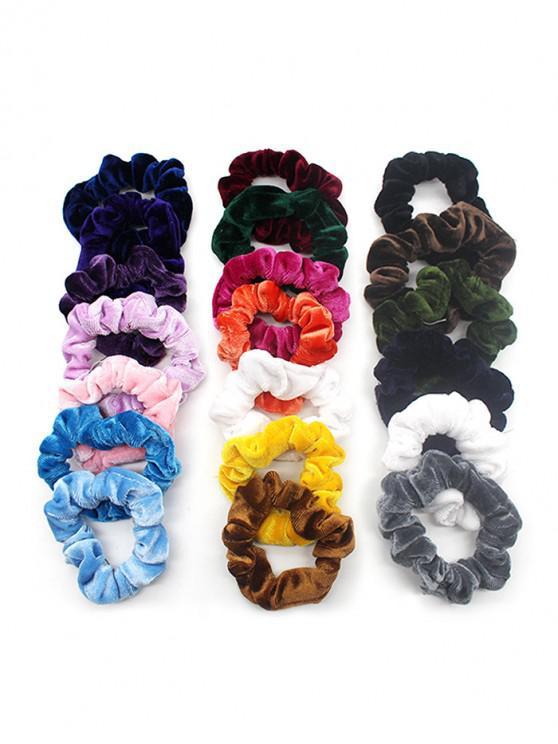 ladies 20Pcs Elastic Velour Fabric Scrunchies Set - MULTI-A