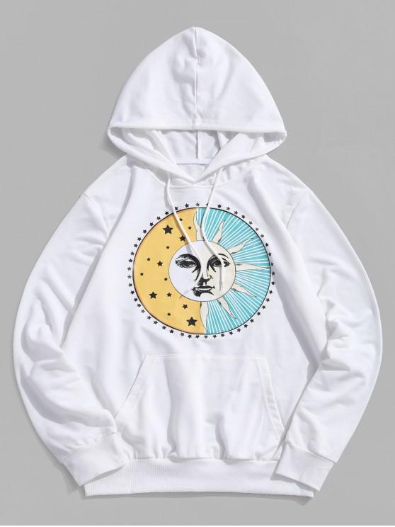 womens ZAFUL Sun Stars Printed Drawstring Pullover Hoodie - WHITE M
