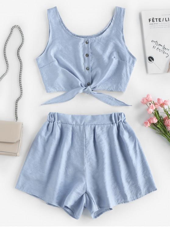 online Sleeveless Button Up Crop Top and Shorts Set - LIGHT BLUE S