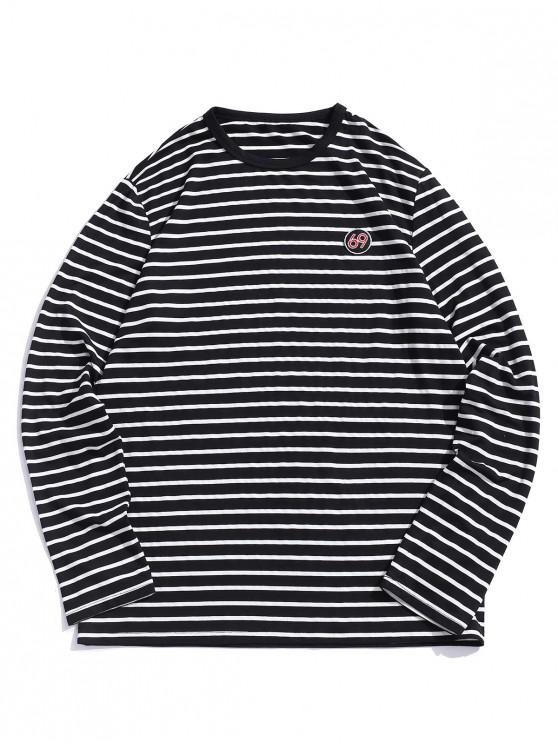shops ZAFUL Number Embroidery Striped Long Sleeve T-shirt - BLACK S