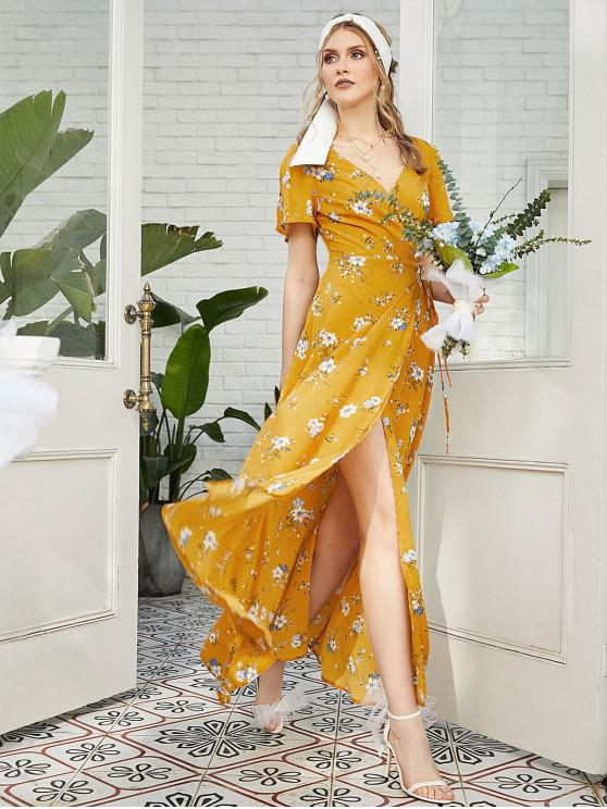 ZAFUL Slit Sleeves Floral Maxi Wrap Dress - Bee Yellow Xl
