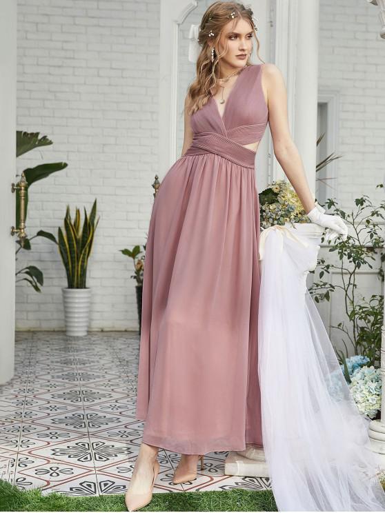 ZAFUL plisado gasa vestido de dama de inmersión Maxi - Brown Rosa  M