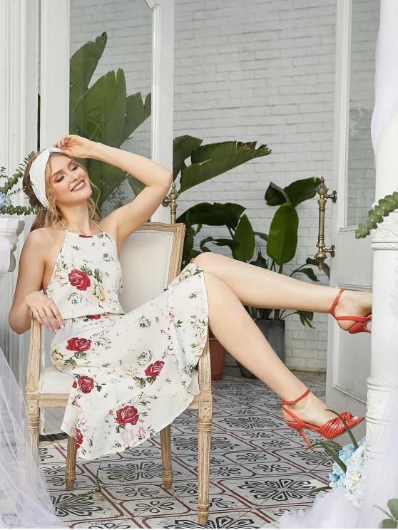 ZAFUL Vestido Asimétrico Espalda Descubierta de Halter de Flores - Blanco M