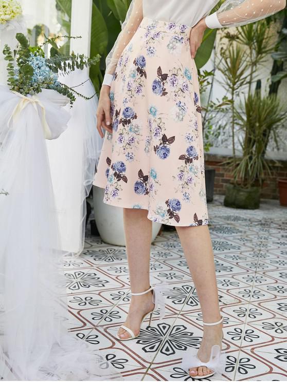 Columpio ZAFUL cremallera lateral floral Una falda de línea - Rosa Sakura  M