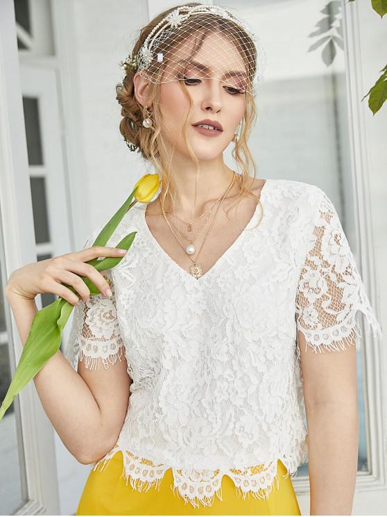 ZAFUL Blusa Corta de Encaje Floral con Abertura Trasera - Blanco M