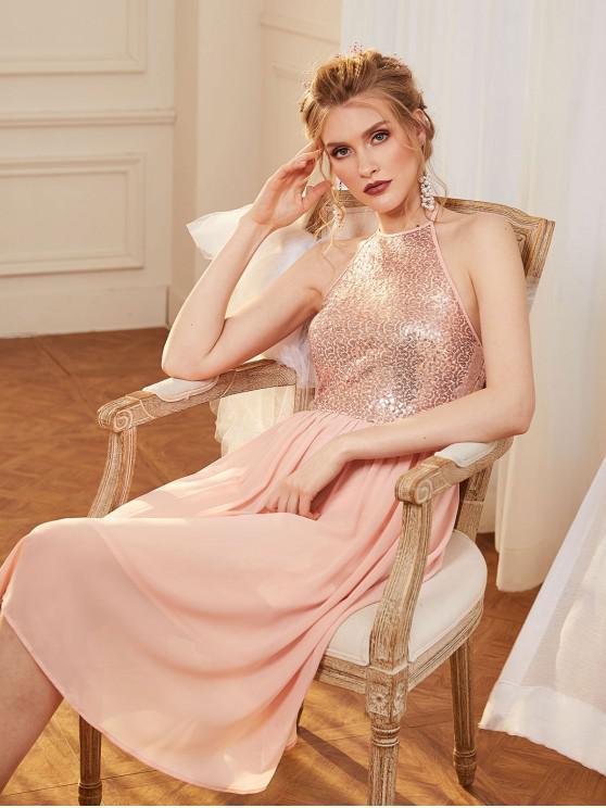 womens ZAFUL Sequined Chiffon Halter Bridesmaid Backless Dress - ROSE L