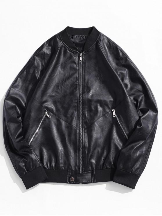 online Solid Raglan Sleeve PU Biker Jacket - BLACK L