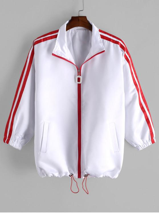affordable Colorblock Stripe Zip Up Jacket - WHITE M