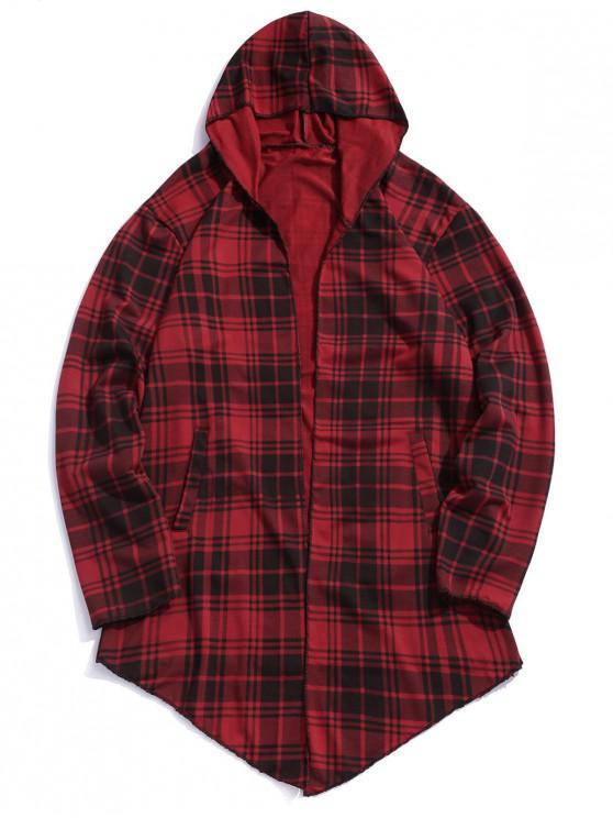 hot Plaid Print Asymmetric Open Front Coat - RED XS