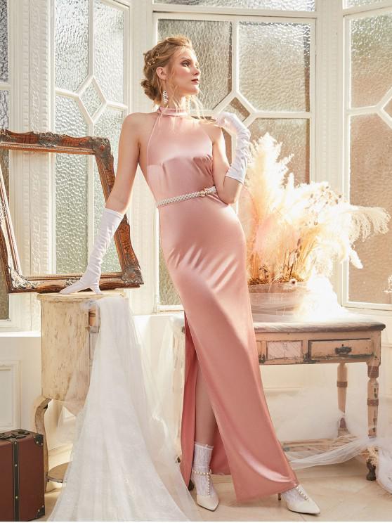 womens ZAFUL Halter Shiny Slit Wedding Dinner Dress - ROSE XL
