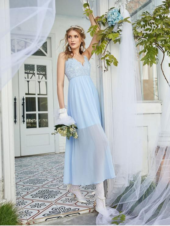 women's ZAFUL Lace Bodice Chiffon Bridesmaid Dress - LIGHT SKY BLUE XL