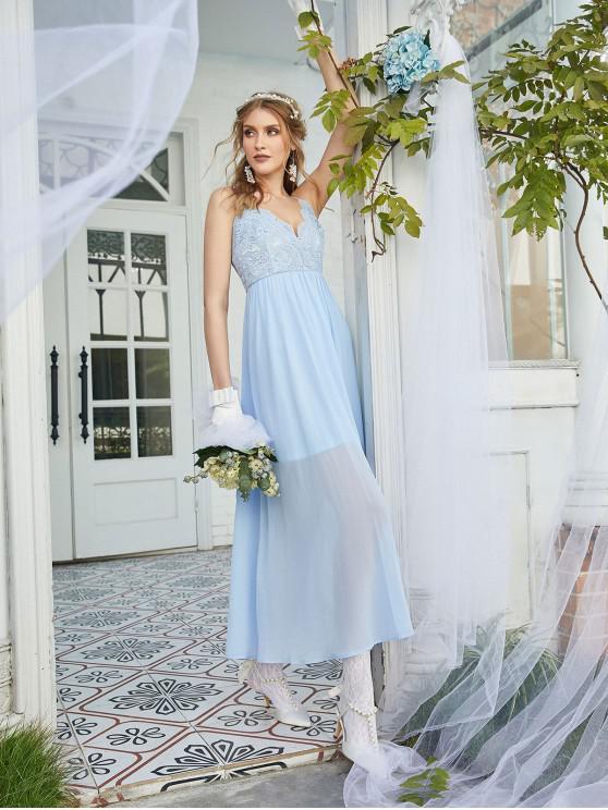 ZAFUL la blusa del cordón de la gasa vestido de dama - Celeste Ligero M
