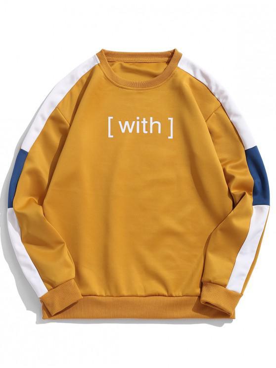 buy With Letter Print Colorblock Panel Sweatshirt - YELLOW S
