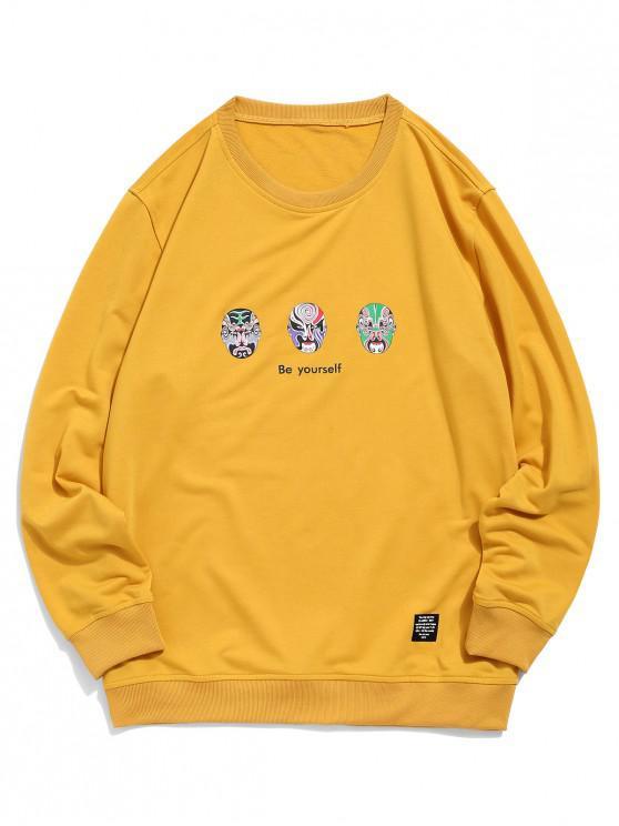 outfits ZAFUL Letter Oriental Opera Mask Print Sweatshirt - BEE YELLOW M