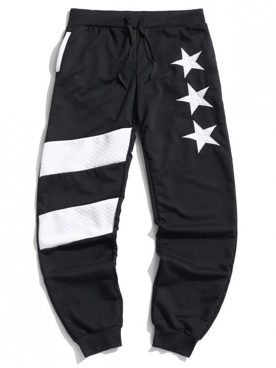 outfit Colorblock Patchwork Star Drawstring Jogger Pants - BLACK M