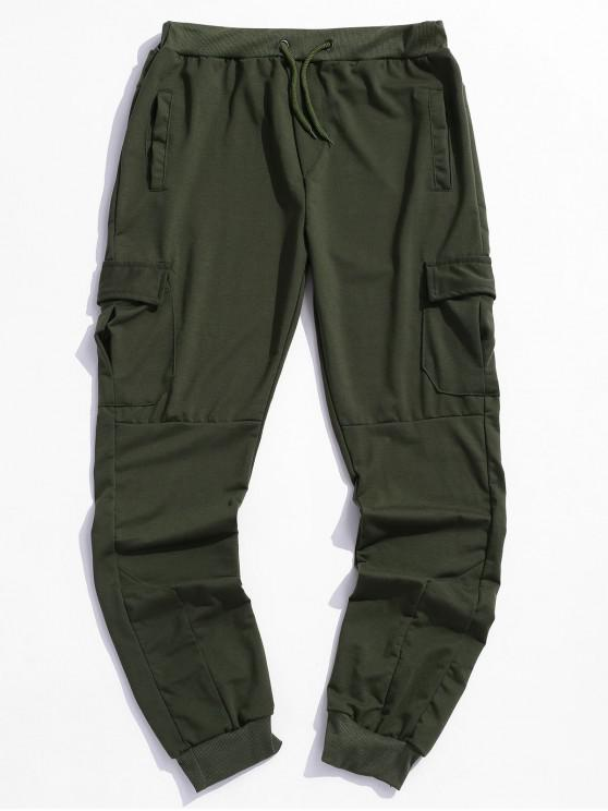 outfits Solid Side Flap Pocket Drawstring Jogger Pants - ARMY GREEN 3XL