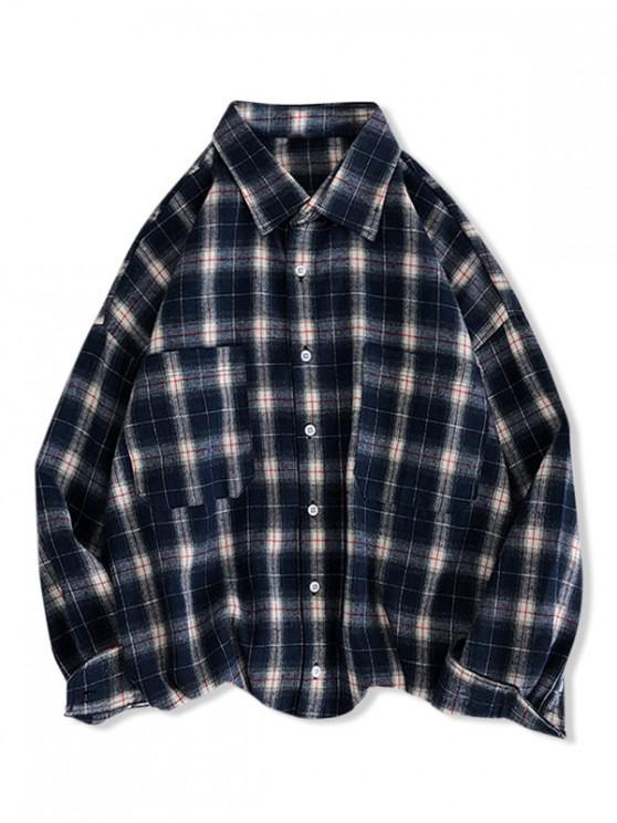 shops Plaid Print Pocket Design Long-sleeved Shirt - DEEP BLUE L