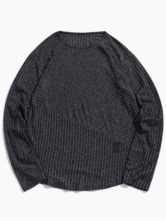buy Long Sleeve Heathered Curved Hem T-shirt - BLACK 2XL