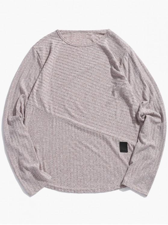hot Long Sleeve Heathered Curved Hem T-shirt - KHAKI 2XL