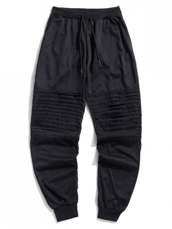 unique Solid Pleated Spliced Sport Jogger Pants - BLACK L